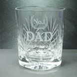 Crystal Whiskey Glass, PERSONALISED Laurel Wreath Design, ref LWCW